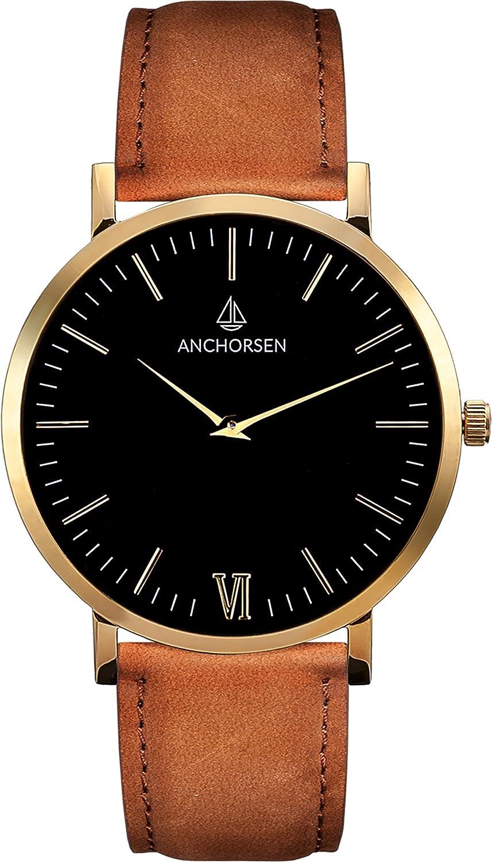 ANCHORSEN Big Adventure Maritime Armbanduhr - Farbe Gold - Schweizer Uhrwerk - Schwarzes Ziffernblatt - Braunes