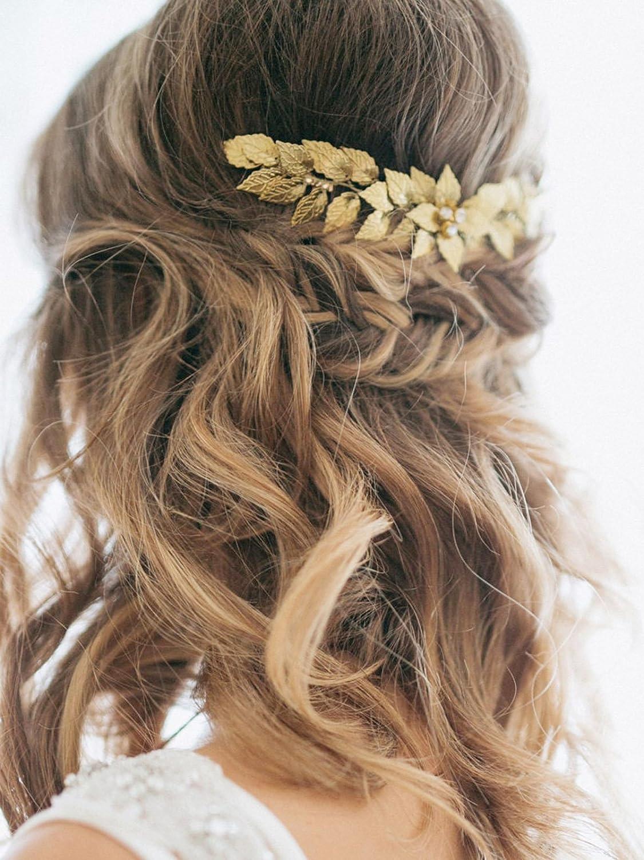 Bridal Headpiece Wedding Hair Piece Gold Luciana Bridal Hair Comb Gold Wedding Hair Comb with Leaves Wedding Hair Accessories