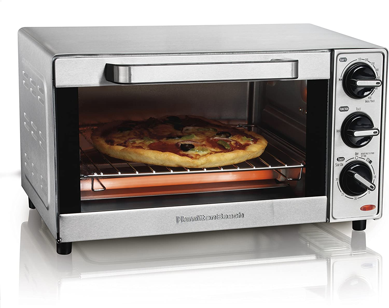Hamilton Beach 31401 Stainless Steel 4 Slice Toaster Oven Broiler Renewed