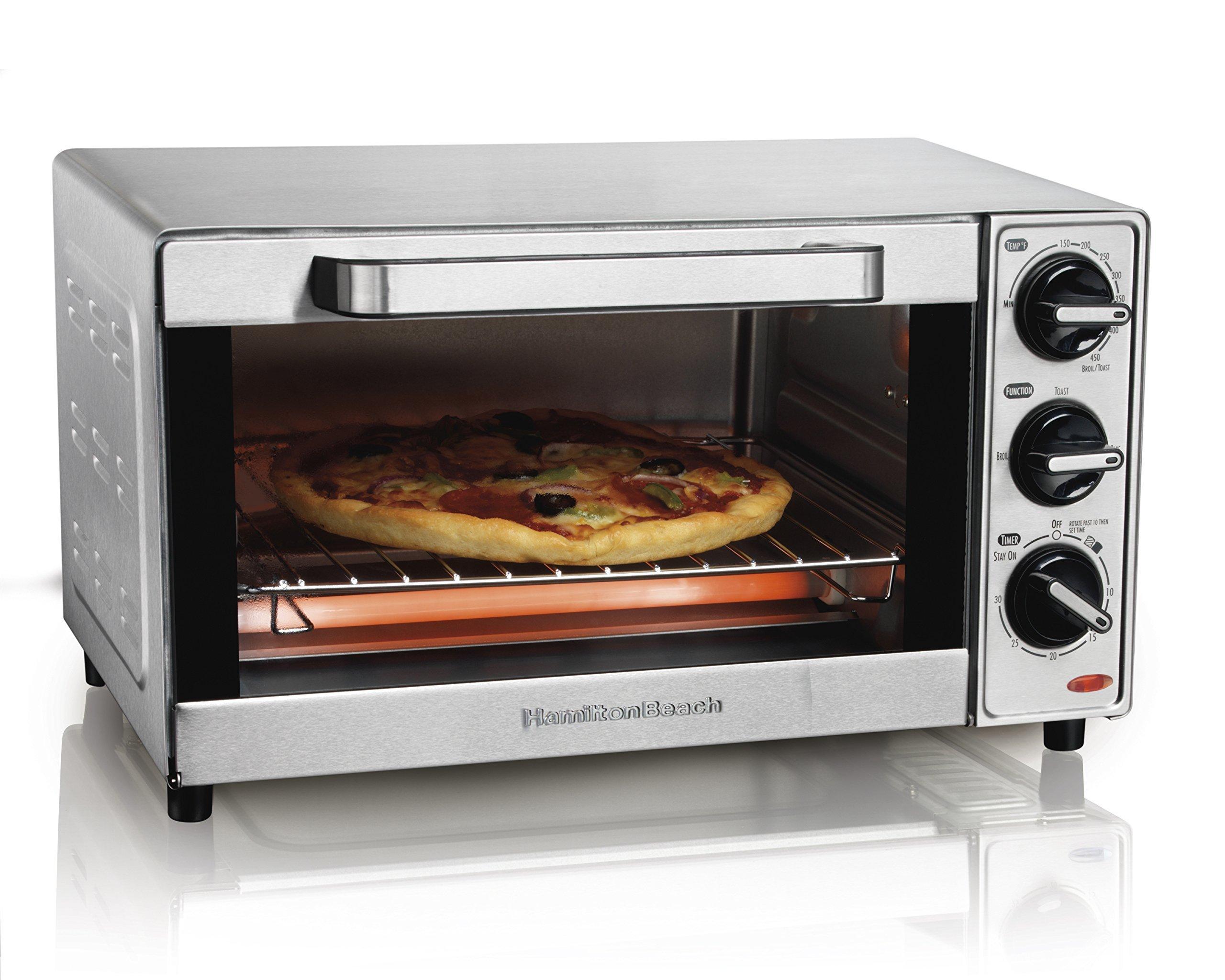 Hamilton Beach 31401 Stainless Steel 4 Slice Toaster Oven Broiler (Renewed) by Hamilton Beach