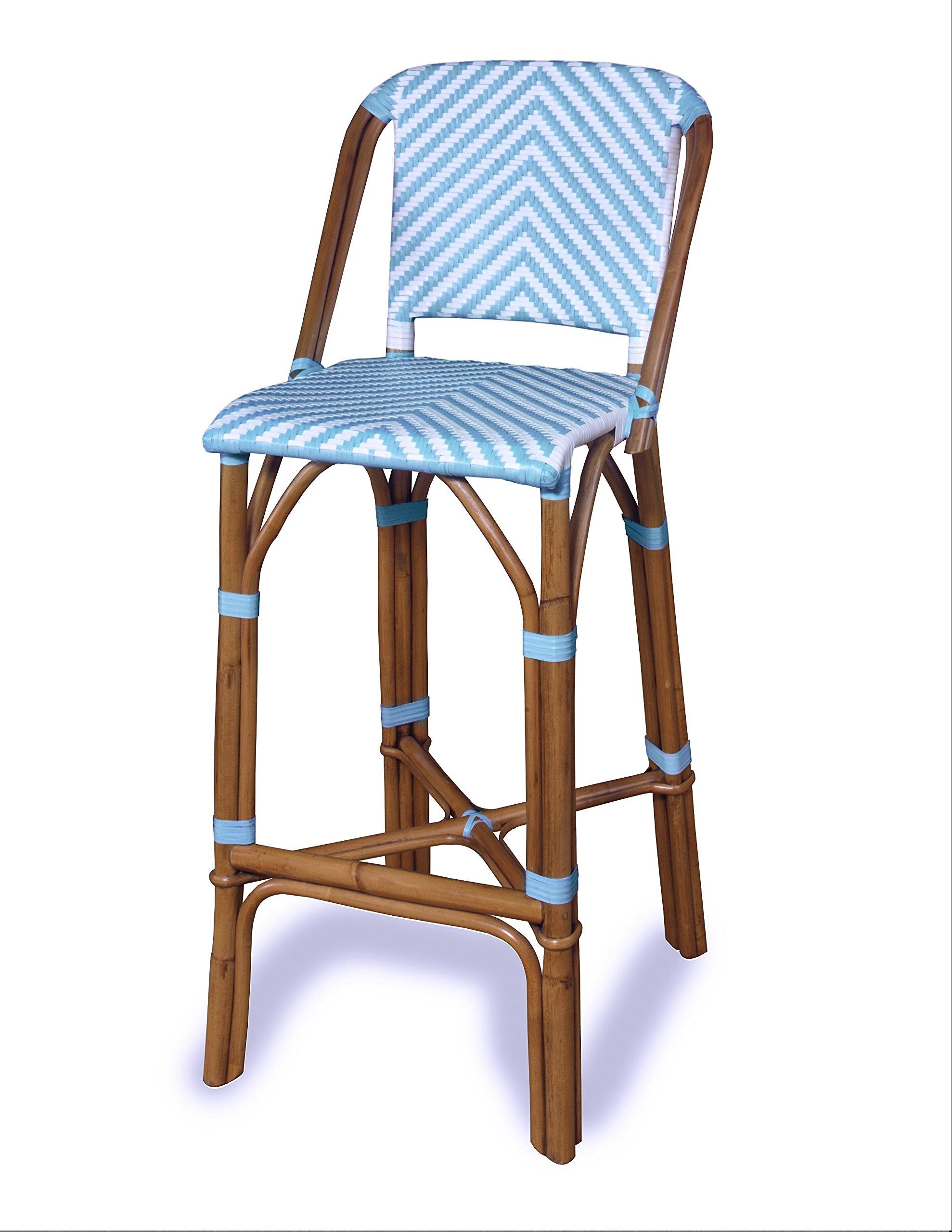 Progressive Furniture A146-42B Rum Point Rattan Bar Stool, Spa Blue