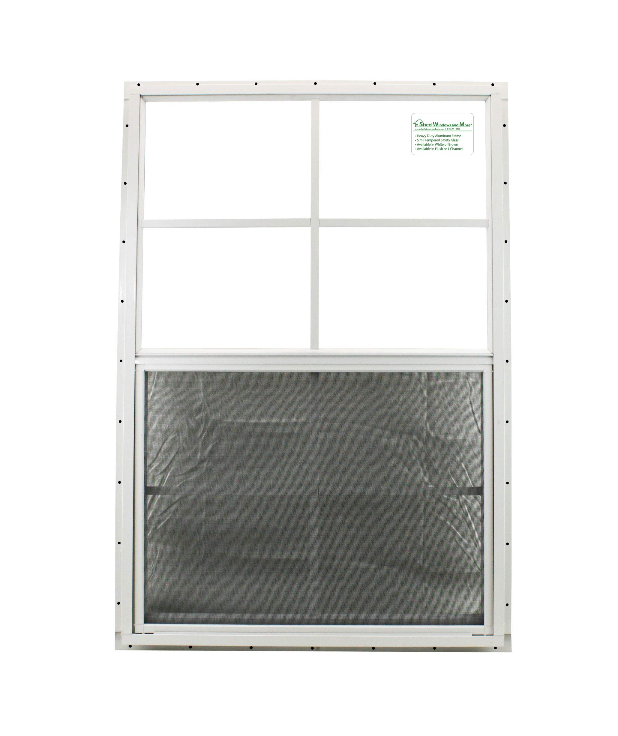 Shed Windows 24'' X 36'' White J-Channel Mount, SAFETY/TEMPERED GLASS, Playhouse Windows, Chicken Coop Windows