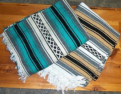Roger Enterprises Large Authentic Mexican Falsa Blanket Throw Yoga Mat Reddish Fuchsia/White