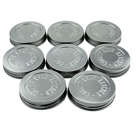 e74b6c764121 Heavy Duty Stainless Steel Mason Jar Lids by County Line Kitchen with Leak  Proof, Easy Opening Seals, Wide Mouth, 8 Pack