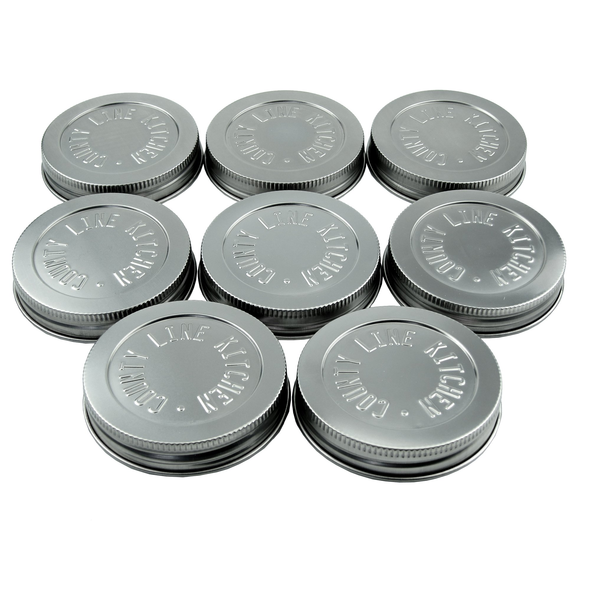 Heavy Duty Stainless Steel Mason Jar Lids by County Line Kitchen with Leak Proof, Easy Opening Seals, Wide Mouth, 8 Pack