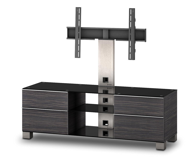 Sonorous MD 8340-B-INX-AMZ Fernseher-Möbel mit Schwarzglas (Aluminium Inox, Korpus Holzdekor)