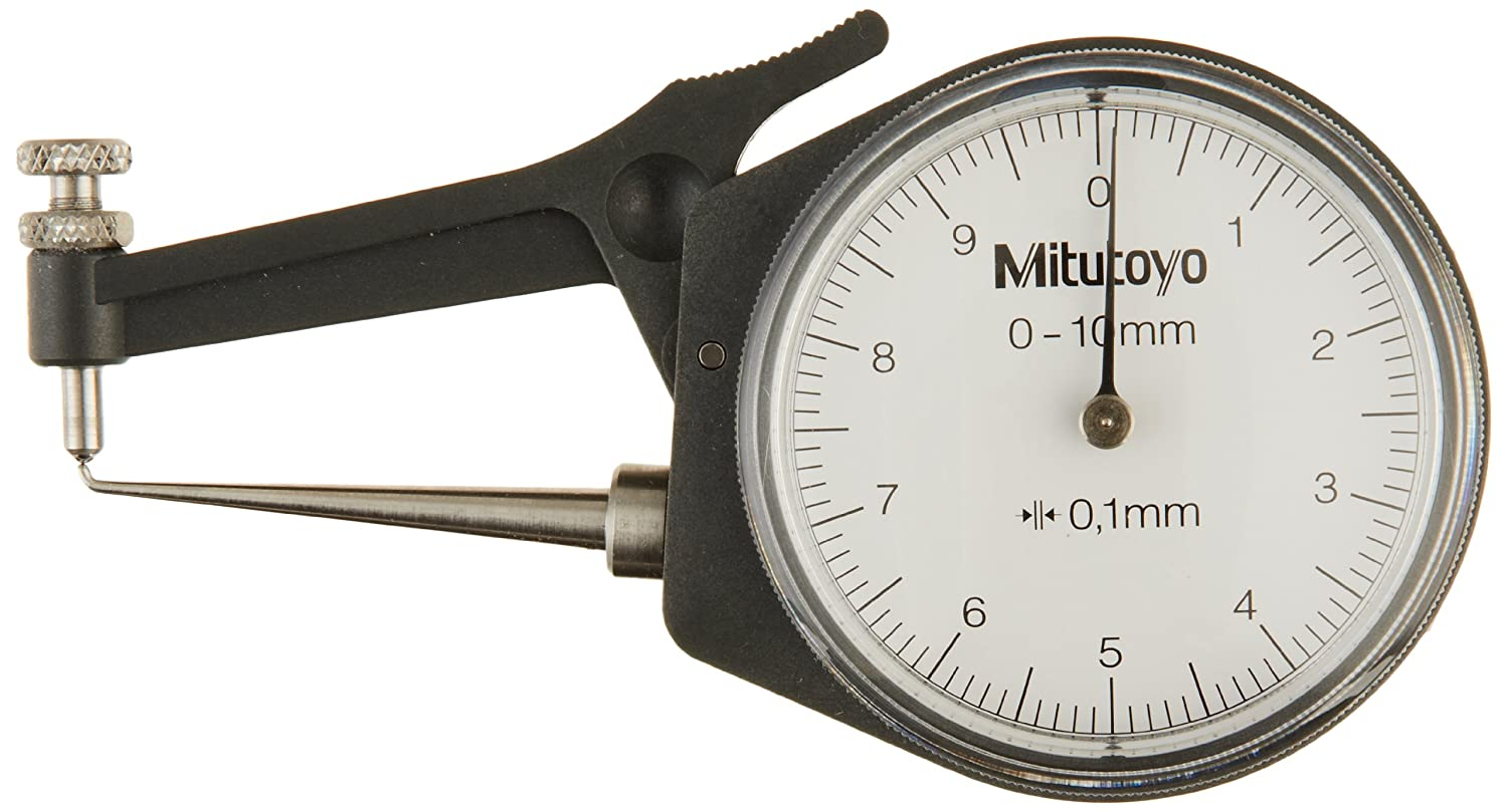 Image of Mitutoyo 209-603 Dial Caliper, Pointed Jaw, White Face, 0-10mm Range, +/-0.1mm Accuracy, 0.1mm Resolution, Meets IP65 Specifications