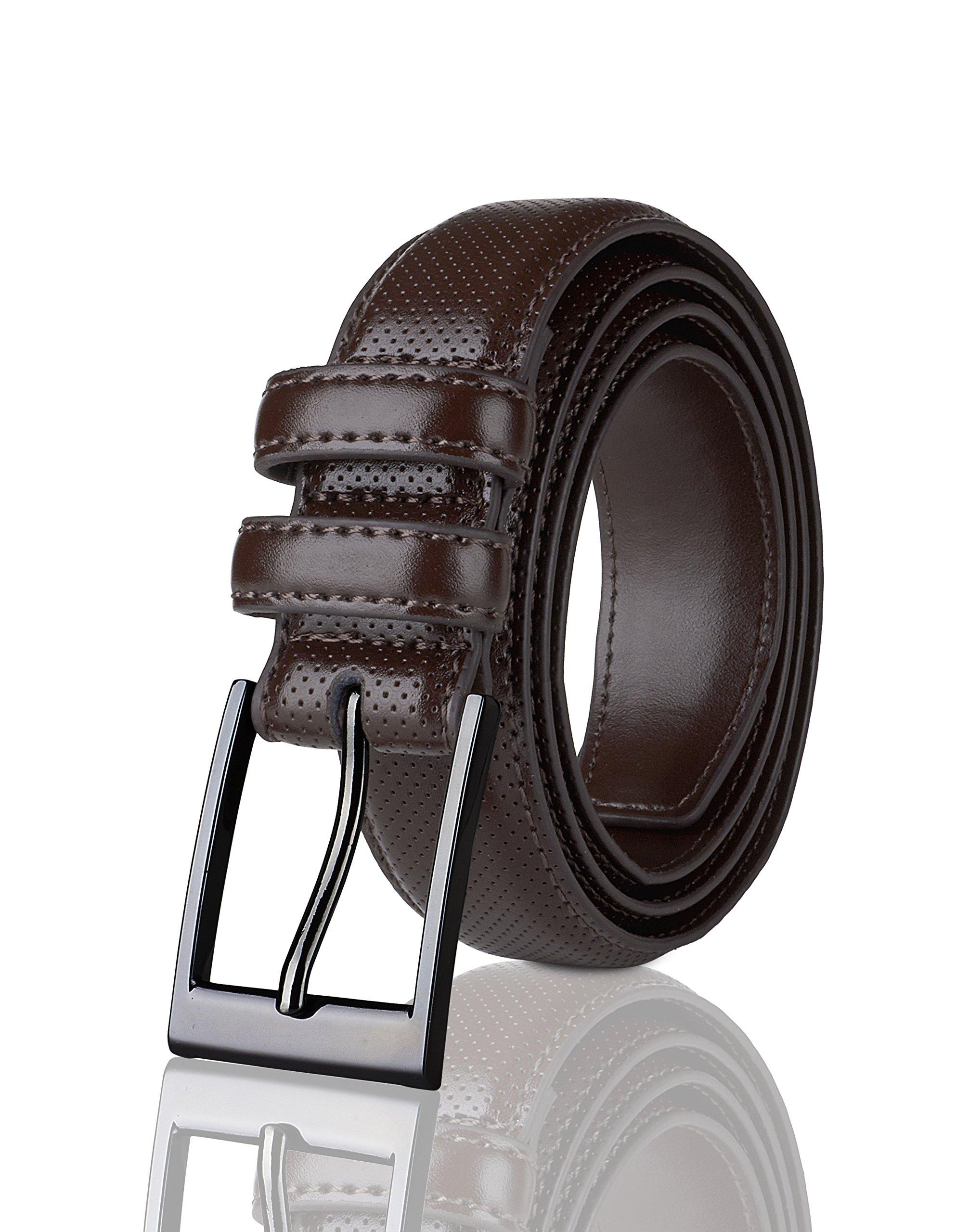 Sportoli Men's Classic Stitched Genuine Leather Uniform Dress Buckle Belt - Brown Perforated - Size 50 (Waist 48)