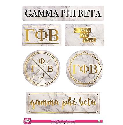 Amazon Com Gamma Phi Beta Sticker Sheet Marble Theme