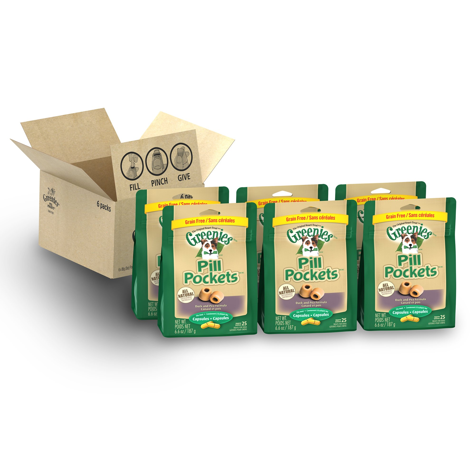 Greenies PILL POCKETS Grain Free Capsule Size Dog Treats Duck and Pea Formula, (6) 6.6 oz. Packs (150 Treats)