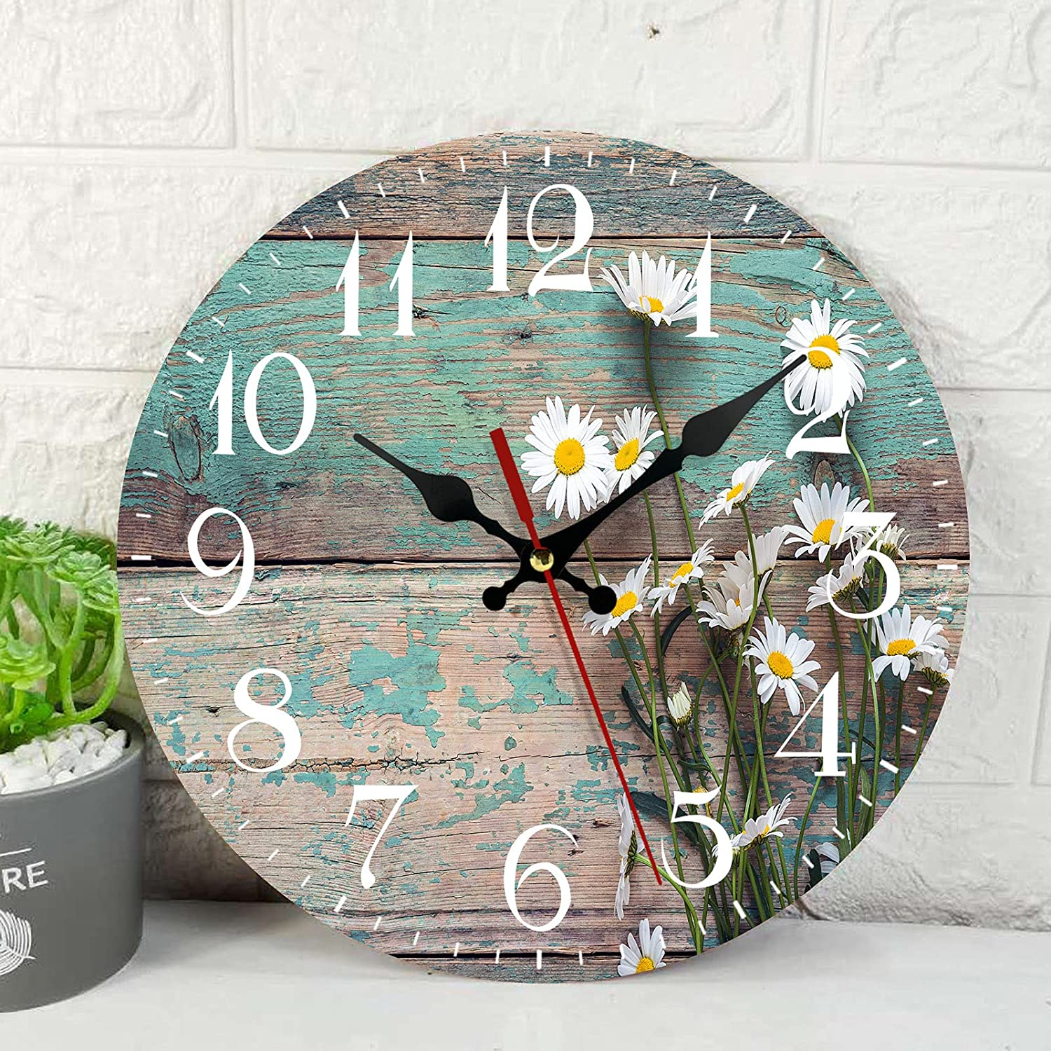 Wooden Wall Clock Silent Non-Ticking , Daisies Old Boards Dhabby Floral Vintage Round Coastal Wall Clocks Decor for Home Kitchen Living Room Office, Battery Operated(12 Inch)