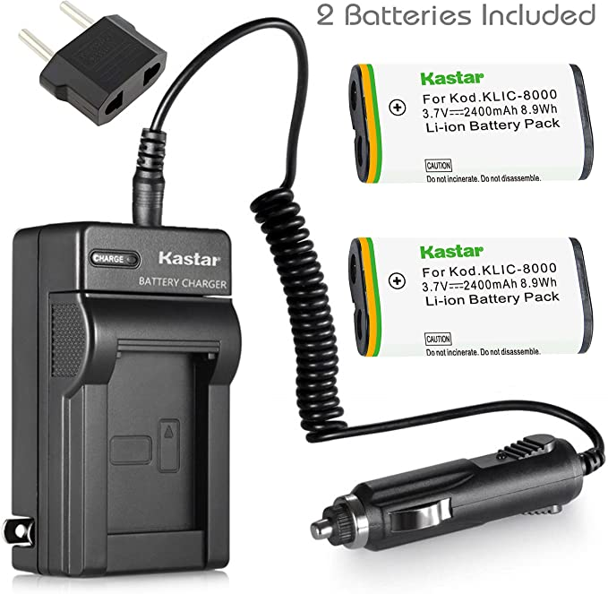 Compatible with Kodak CR-V3 Digital Camera Batteries and Chargers 1300mAh 3.3V Lithium-Ion Replacement for Kodak CX7430 Battery and Charger