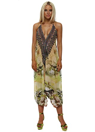 9c622dc76755 frime Floral Print Halterneck Harem Jumpsuit One Size Green  Amazon.co.uk   Clothing