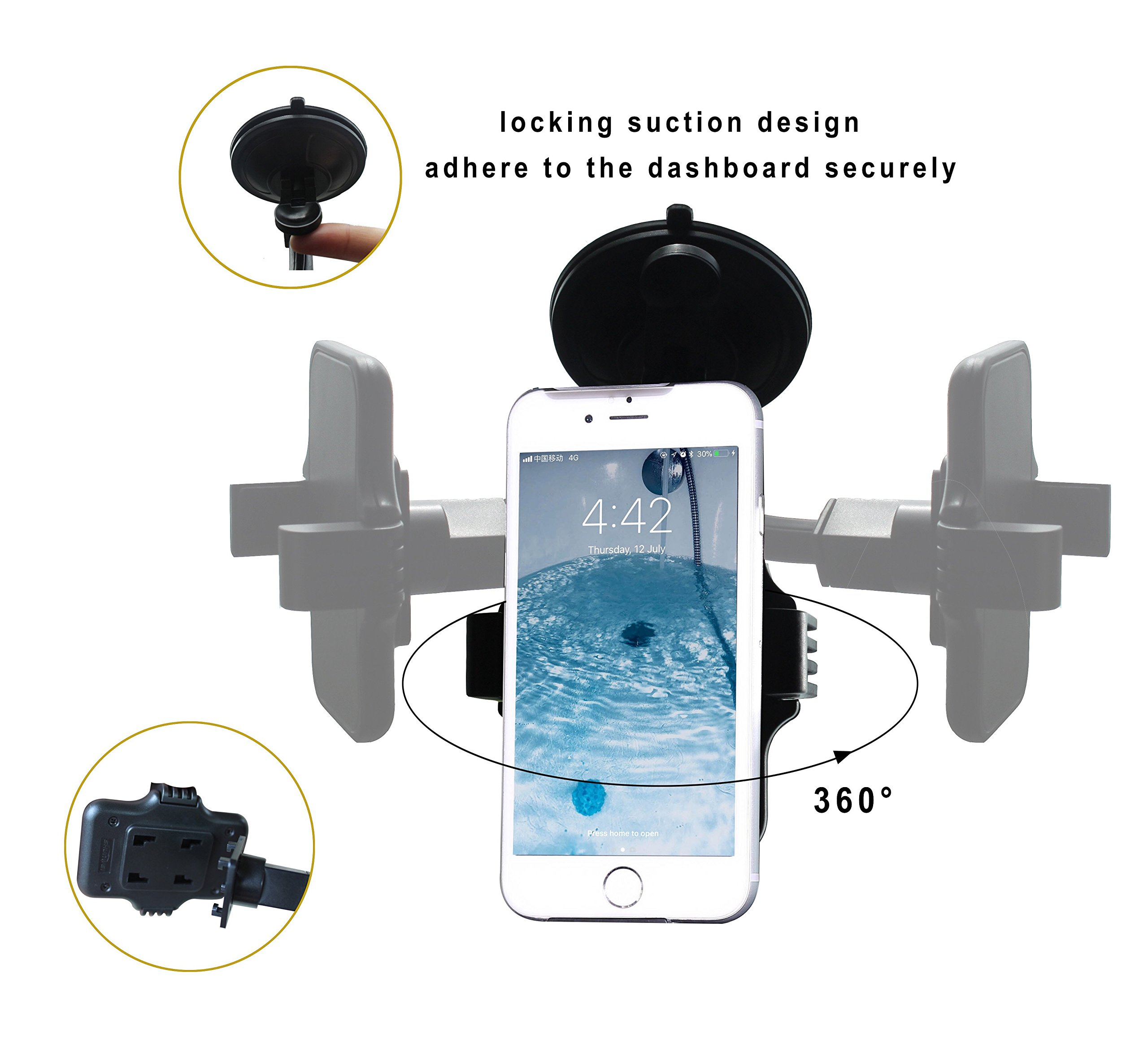 Durapower Cell Phone Holder for Car, Windshield Arm Car Mount with One Button Design and Anti-Skid Base for iPhone 8/7/7P/6s/6P/5S, Galaxy S5/S6/S7/S8, Google, LG, Huawei and More