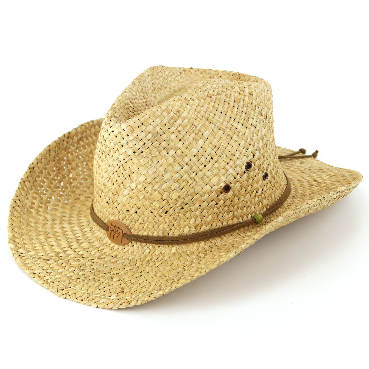 Straw cowboy hat with leather band detail and three horses badge. Natural
