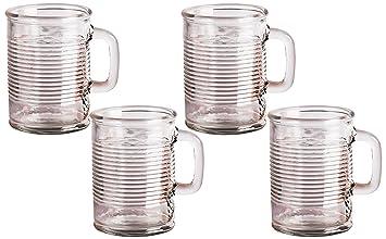 Puede con forma de vasos con mango de cristal, 17 onzas, juego de 4