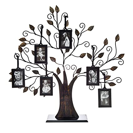 Amazon.com - Philip Whitney Metal Family Tree Picture Frame with 6 ...