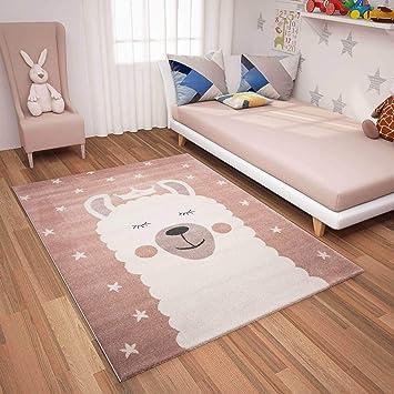 | Kinderteppiche Lama Sternenhimmel | Kinderteppich für Mädchen und Jungen  | Sterne Teppich für Kinderzimmer | Farbe: Rosa & Blau | Schadstofffrei ...
