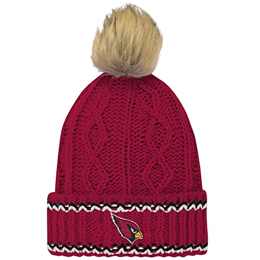 super popular 579bc 99f57 Amazon.com   Outerstuff NFL Arizona Cardinals Youth Girls Fan-Core Furry Pom  Cable Knit Hat Cardinal, Youth Girls One Size 7-21   Clothing