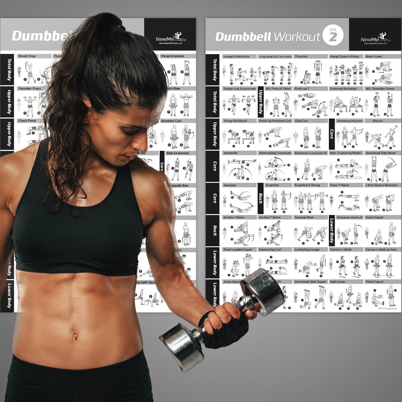 Vol 1 + 2 mancuernas ejercicio Poster 2-Pack laminado - Tabla de entrenamiento entrenamiento de fuerza - Construir tono muscular, apriete - Gimnasio en casa ...