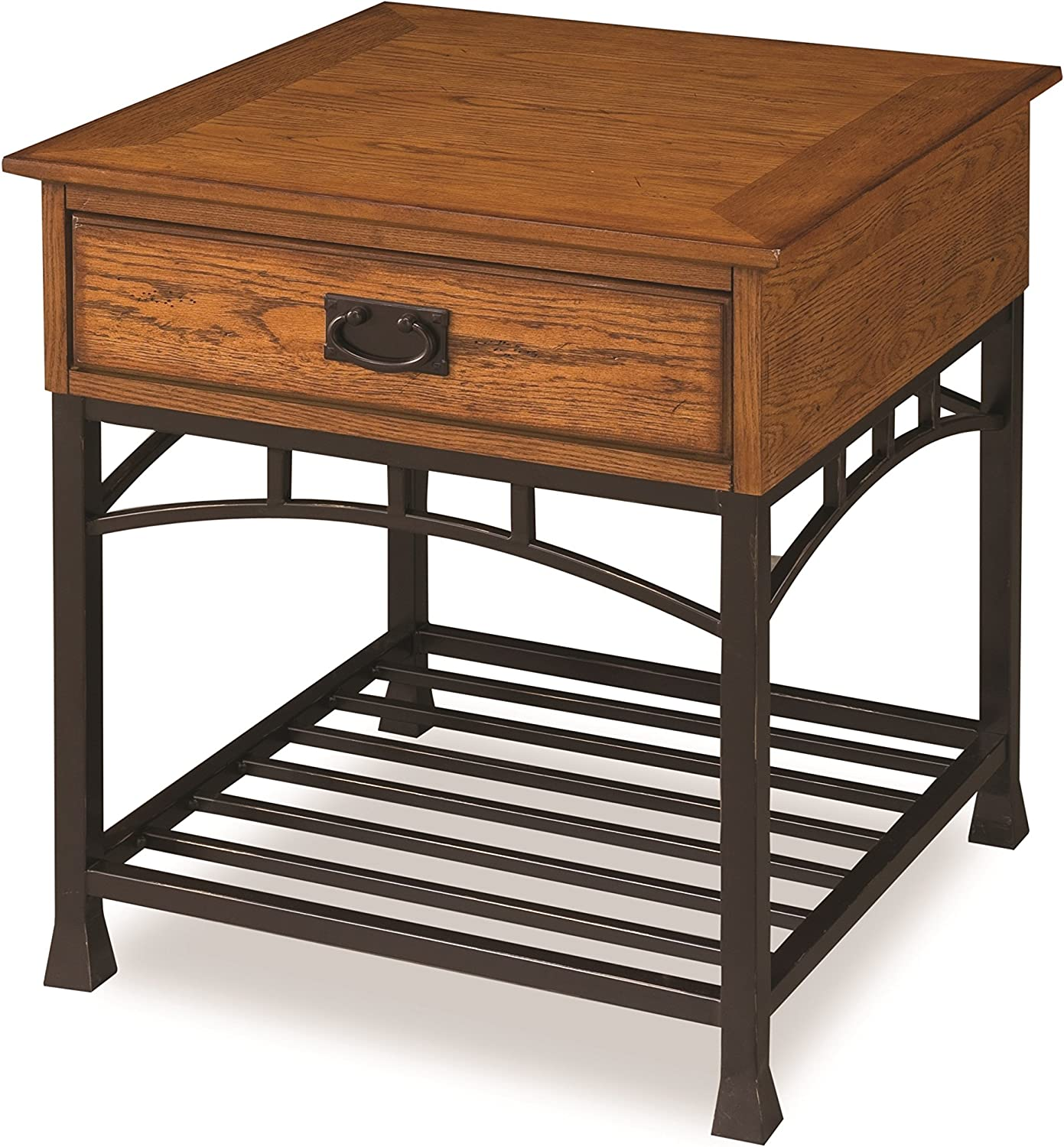 Amazon Com Modern Craftsman Distressed Oak End Table By Home Styles Furniture Decor