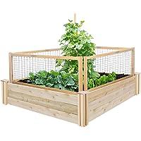 Greenes Fence RC4T12BCG Cedar Raised Garden with CritterGuard Fence System, 48″ x 48″ x 10.5