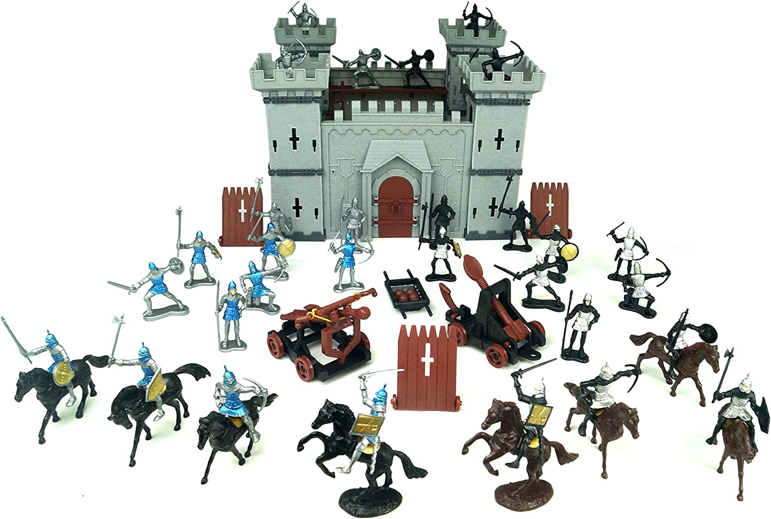TYCBOY Colorful Character Modeling DIY Castle Building The Medieval Times Middle Ages Military Plastic Fort Model Kit Set with Figures Soldier Knight Simulated Siege War of Attack