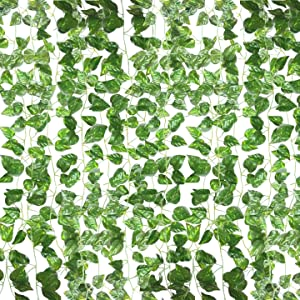 QC Life 84 FT Artificial Ivy Fake Greenery Leaf Garland Plants Vine Foliage Flowers Hanging for Wedding Party Garden Home Kitchen Office Wall Decoration(12 Pack) (12 Pack-03)
