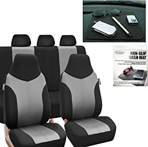 FH Group FB101115 Supreme Twill Fabric High Back Car Seat Covers Gray/Black (Full Set Airbag Ready and Split Rear Bench) FH1002 Non-Slip Dash Pad -Fit Most Car, Truck, SUV, or Van