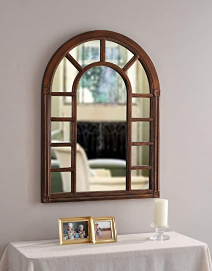amazon com kenroy home cathedral wall mirror with bronze finish 28