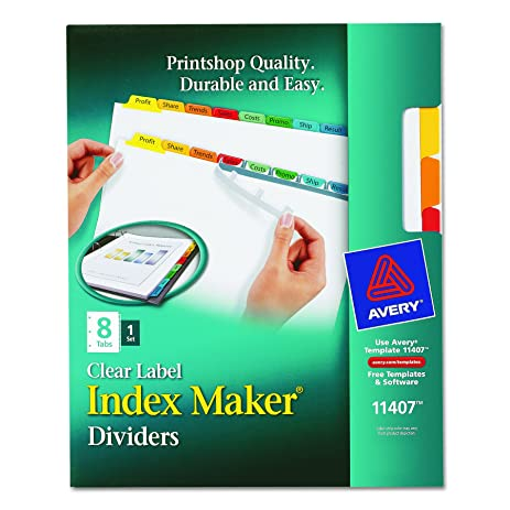 Amazon Avery Index Maker White Dividers 8 Tab Laserinkjet
