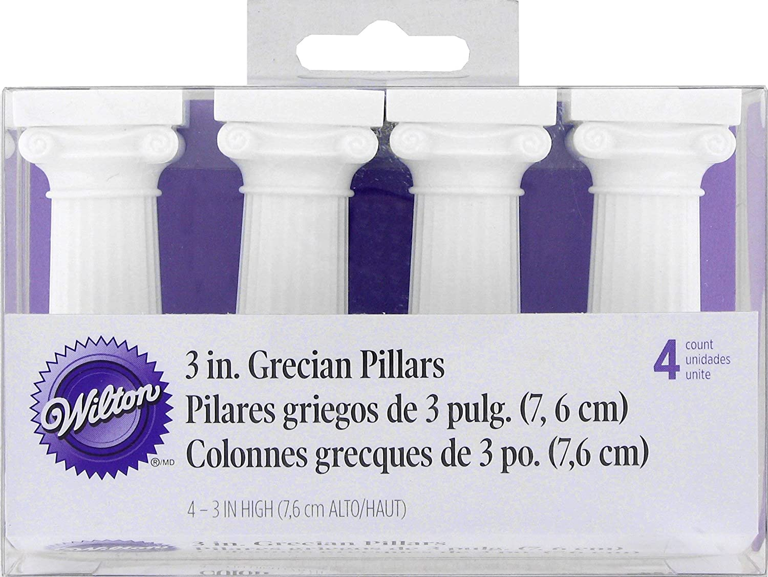 Wilton 4-Pack Grecian Pillars for Cakes, 3-Inch