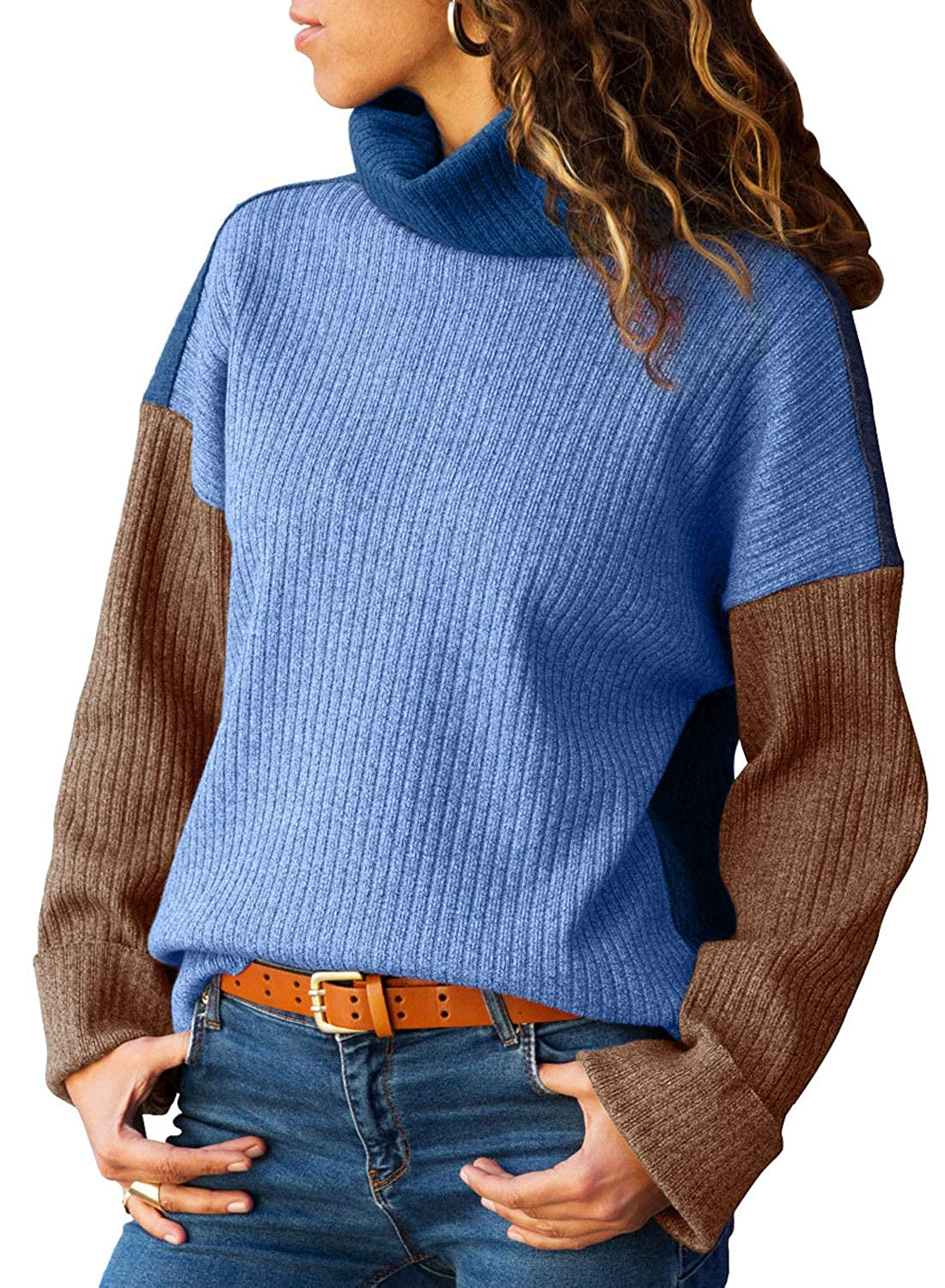AlvaQ Womens Color Block Turtleneck Knit Pullover Sweater(5 Colors S-XXL) AQ27828