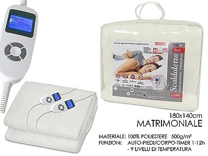 girm® – ge515206 scaldaletto eléctrico 120 W de microfibra blanco para cama matrimonio L140 X