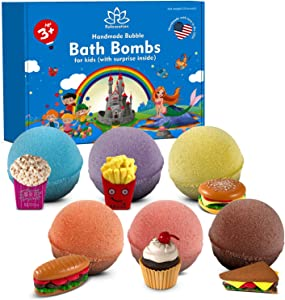 Bath Bombs for Kids with Surprise Inside Fast Food Toys - Natural and Safe Bath Bombs Gift Set for Girls & Boys - Multicolored Organic Bubble Bath - Made in USA