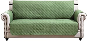 Argstar Reversible Love Seat Cover Furniture Protector Slipcover Green/Sage (2 Seater)