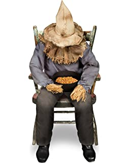 spirit halloween 45 ft sitting scarecrow animatronics decorations