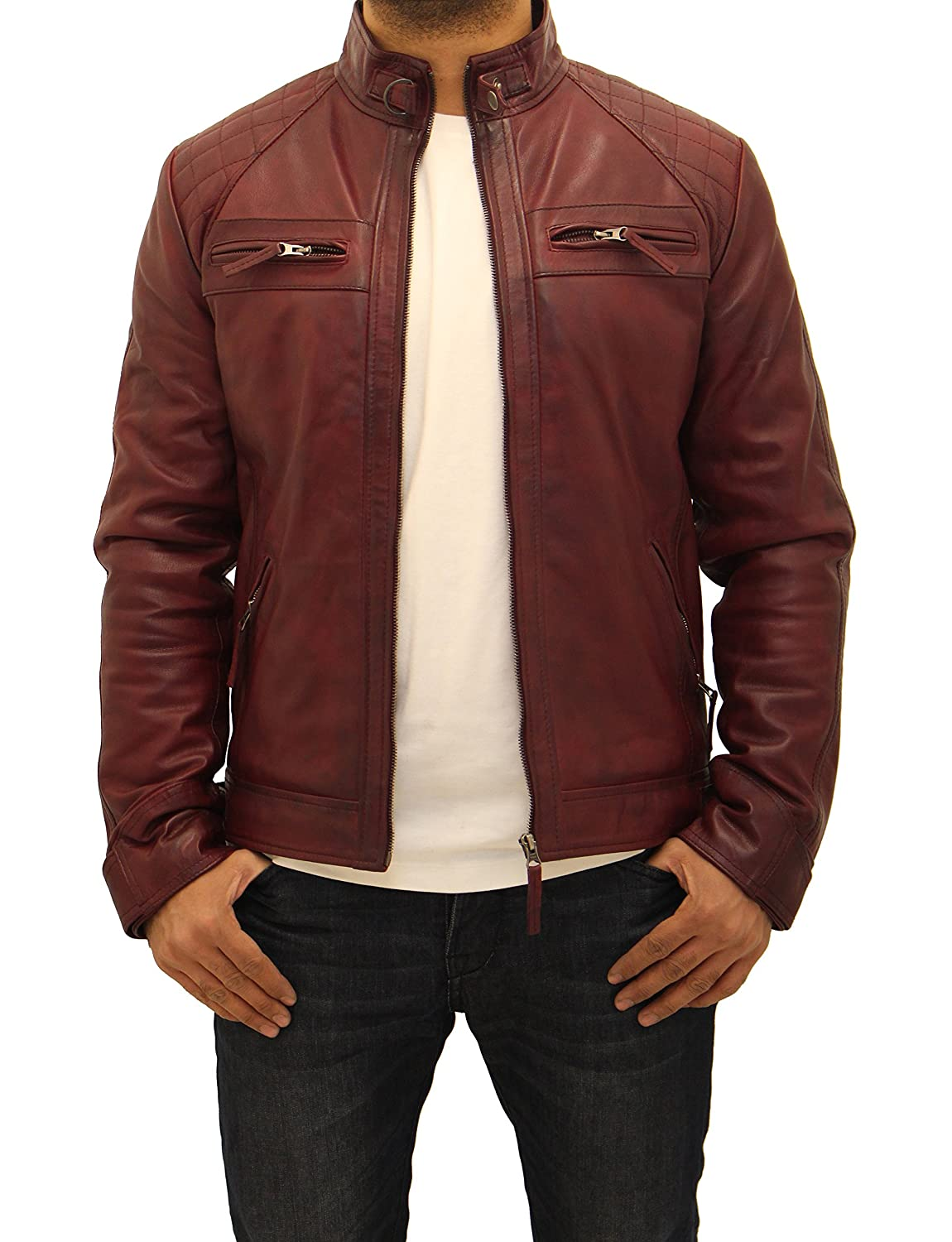 Mens Burgundy Vintage 100%Leather Quilted Smart Fitted Retro Zipped Biker Jacket