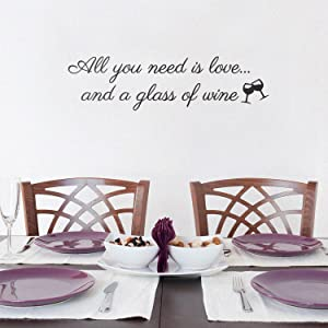 "Vinyl Art Wall Decal - All You Need is Love and A Glass of Wine - 7.9"" x 30"" - Witty Adult Humor Drinking Home Living Room Kitchen Dining Room Bar Restaurant Sticker Decor (7.9"" x 30"", Black)"