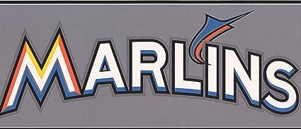Miami Marlins MLB Baseball Team Fan Sports Wallpaper Border Modern Design Roll 15 X