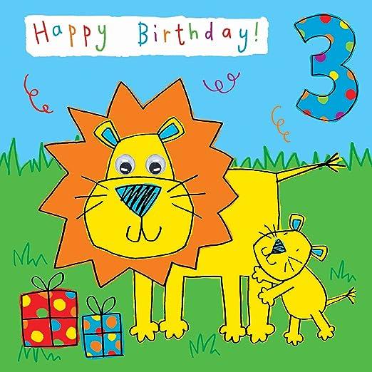Twizler 3rd Tarjeta de cumpleaños para niño con león y mano ...