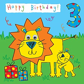 Twizler 3rd Birthday Card For Child With Lion And Hand Finished Googly Eyes 3 Year Old Age Childrens