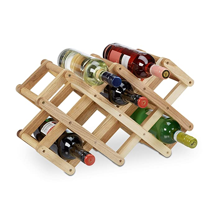img buy Relaxdays Wooden Wine Rack, Walnut, for 8 Bottles, Cottage Style, Small, Sturdy Bottle Holder, HxWxD: 45 x 17 x 31 cm, Natural