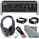 """Tascam US-2x2 2-Channel USB Audio Interface Deluxe Bundle W/Dual MIDI Cable + 2 X ¼"""" Cable + 2 X XLR Cable + Samson Stereo Headphones+ Fibertique Cleaning Cloth"""