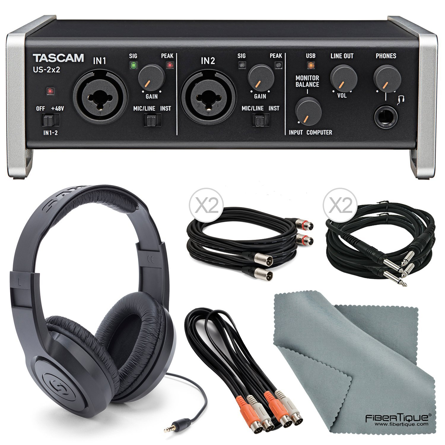 """Tascam US-2x2 2-Channel USB Audio Interface Deluxe Bundle W/ Dual MIDI Cable + 2 X ¼"""" Cable + 2 X XLR Cable + Samson Stereo Headphones+ Fibertique Cleaning Cloth"""