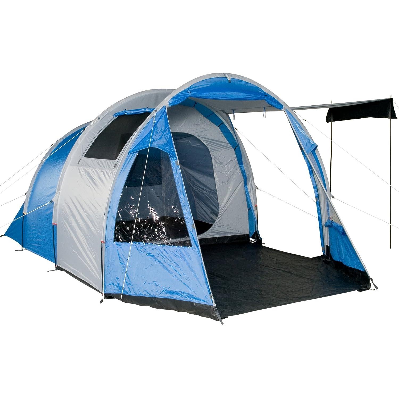 Fridani Camping-Zelt TSB 400 Tunnelzelt mit Schlafkabine für 4 Personen Outdoor Familienzelt mit Wohnraum, Belüftung, Stehhöhe, wasserdicht mit 3000mm Wassersäule