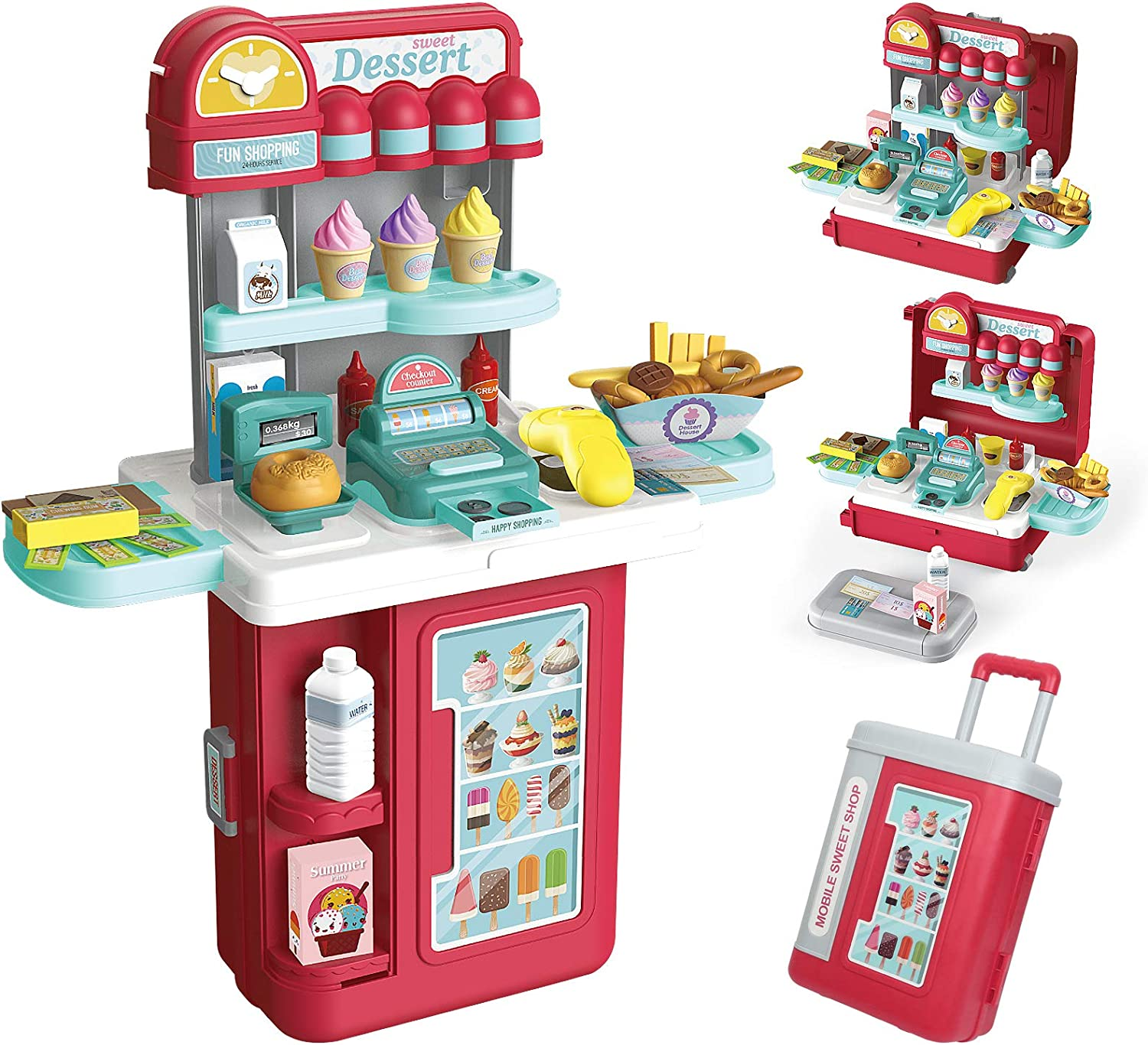 GRESAHOM Pretend Playset for Kids,4-in-1 Cash Register Convertible Suitcase Role Play Set with 54 PCS Accessories,Scanner Credit Card Play Food Money Sweet Treats Ice Cream Dessert for Boys Girls