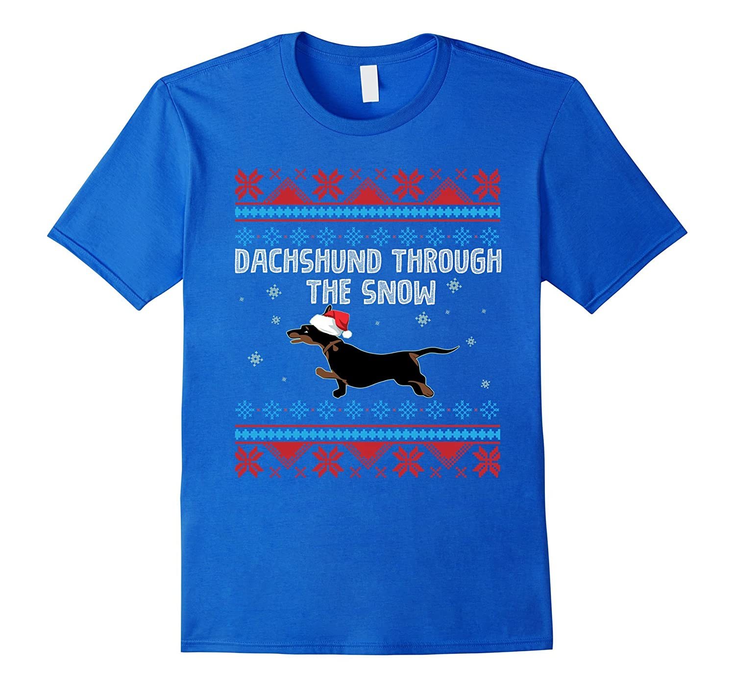 Dachshund Through the Snow T-Shirt Funny Ugly Sweater Gift-FL