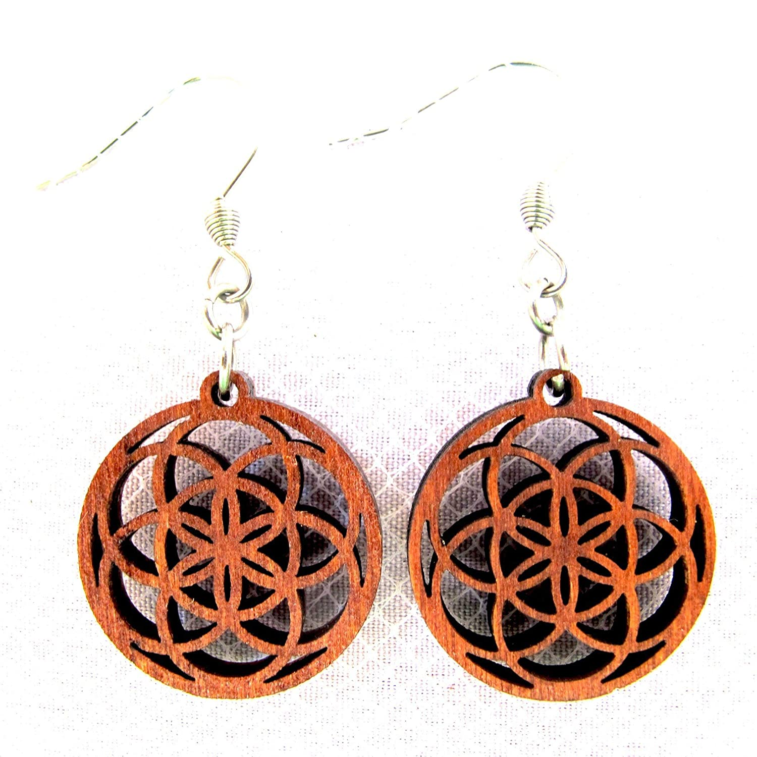 Wooden Earrings Seed of Life in circle Super Small Earrings - Fractal geometry jewelry - Eco-friendly Jewelry