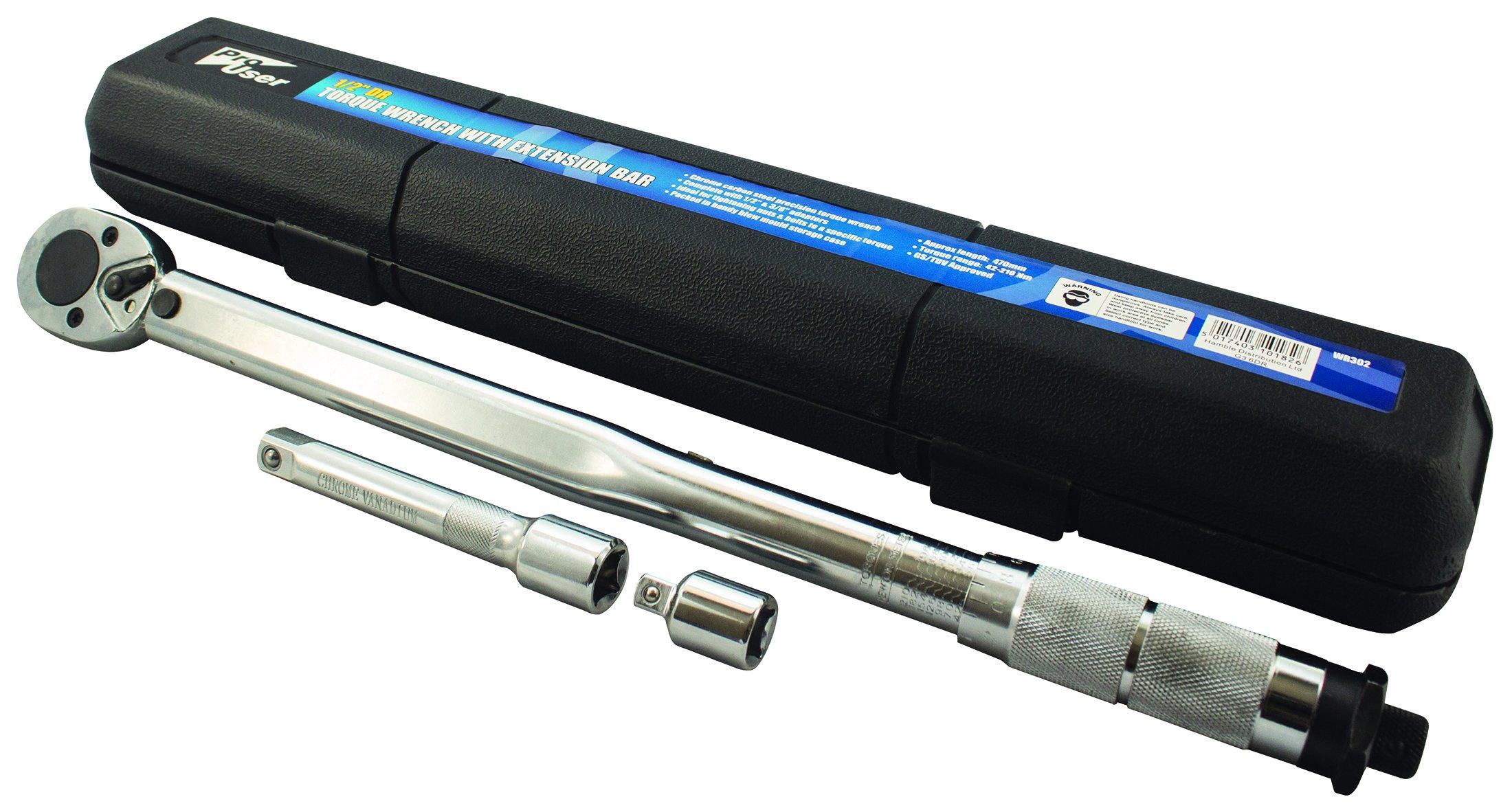 Pro usuario wr302 llave dinamométrica con barra de extensión, Plata, 1/2-